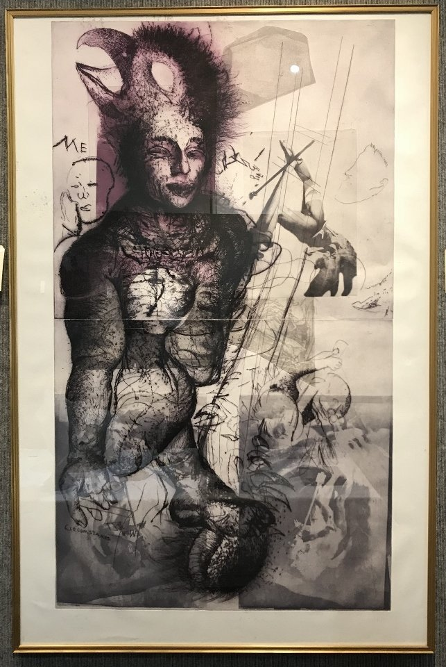 Large lithograph by Wolfgang Petrick, Orrin Riley