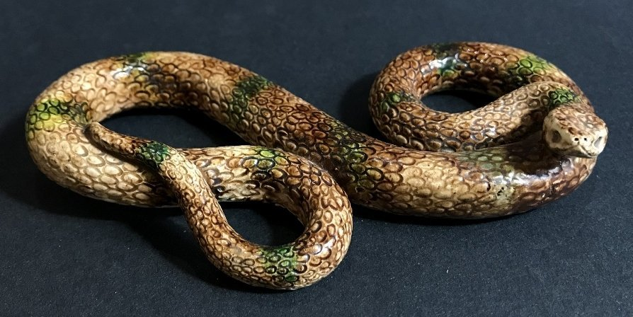 Majolica ceramic snake, 19th cen