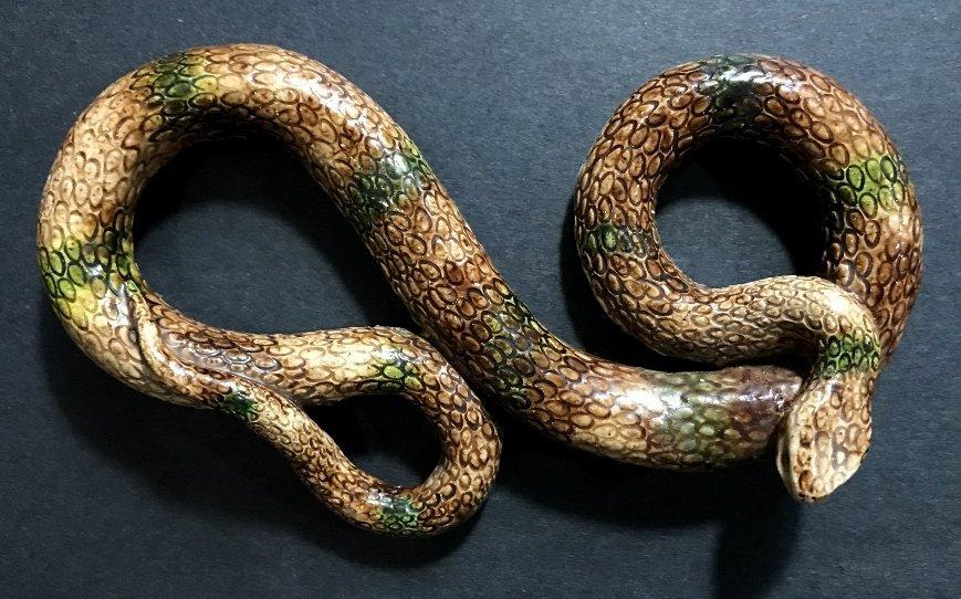 Majolica ceramic snake, 19th cen - 2