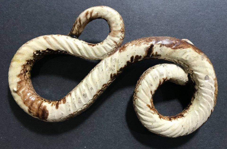 Majolica ceramic snake, 19th cen - 4