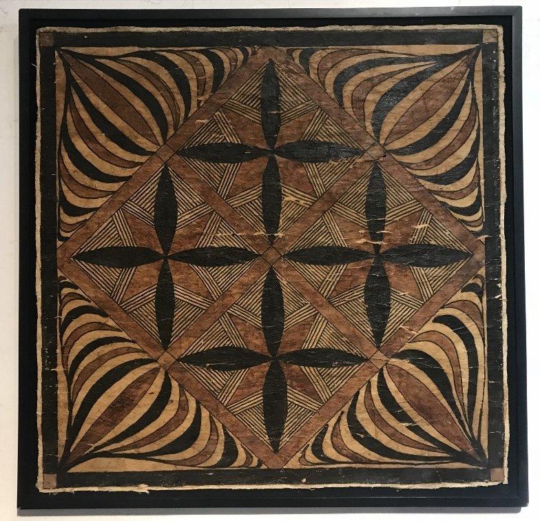 Square tribal African weaving, framed