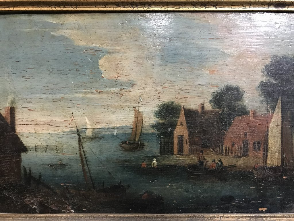 Painting on panel, house and lake, c.1850 - 2