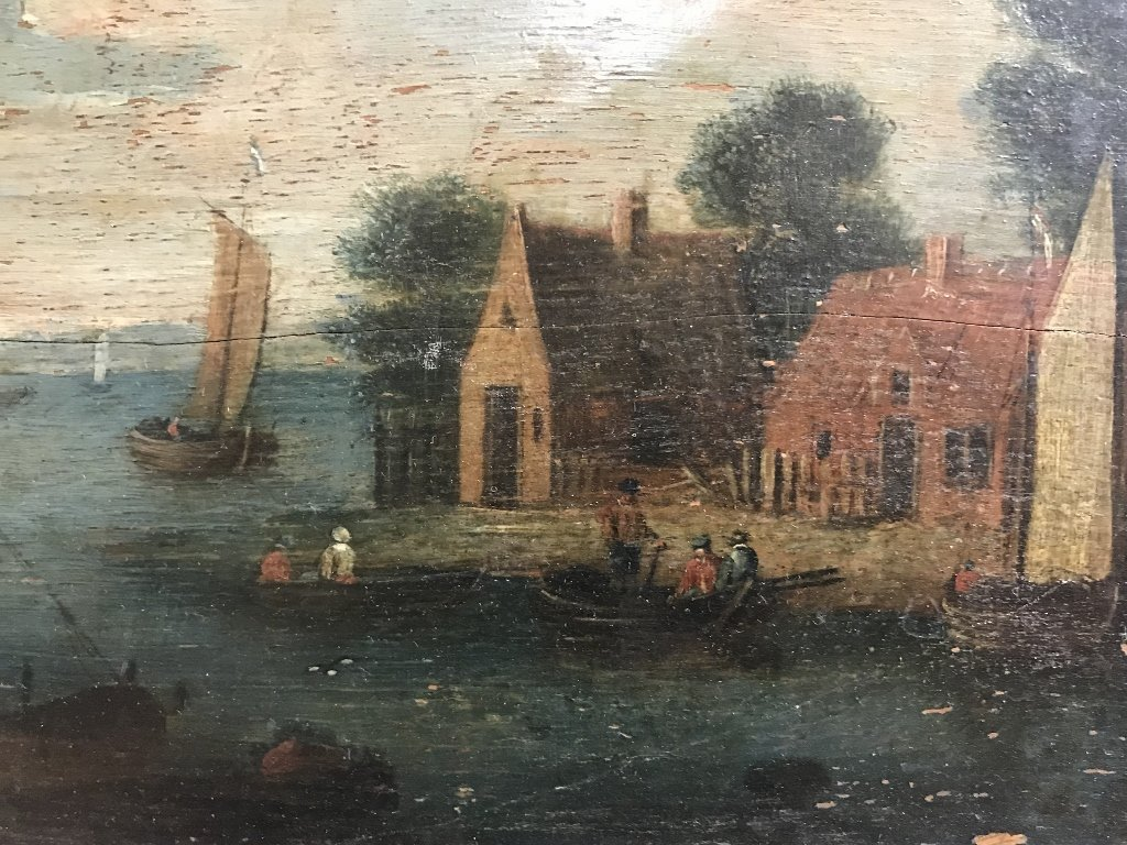 Painting on panel, house and lake, c.1850 - 3