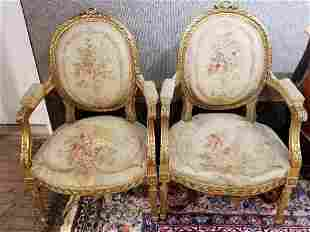 Pair gilt wood Louis XV style  armchairs-damaged
