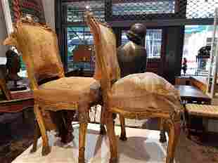 Gilt wood Louis XVI style chairs with hoof legs-weak