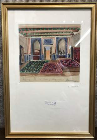 Watercolor of interior by A.N.Volkov-Ambassador