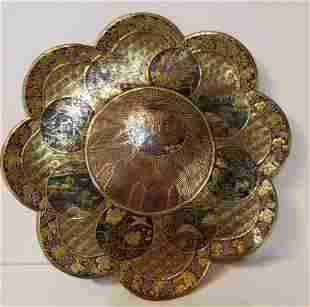 Japanese gold inlaid iron dish, circa 1880