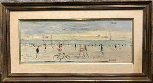 Painting of beachgoers by Gabriel Dauchot