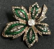 14k diamond enamel leaf brooch, c.1880, 5 dwts
