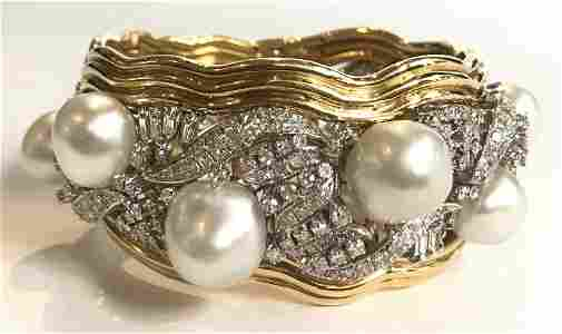 18k plat diamond baroque pearl bangle, 88.6 dwts