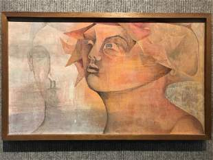Painting of two women by Dorothy Ruddick, 1958.