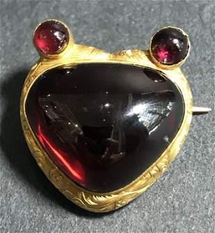 14k gold garnet heart locket, c.1880, 5 dwts