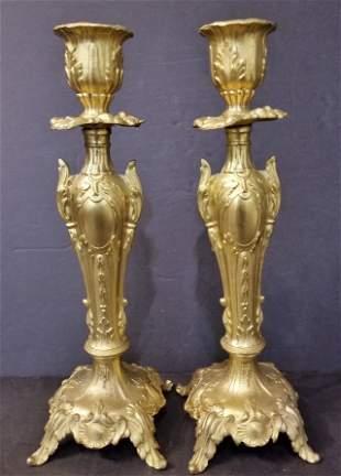 Gilt metal candlesticks, circa 1930