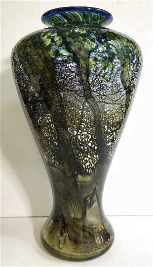 Isle of Wight glass studio vase, trees, circa 1998