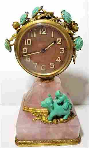 Nicholas Haydon turquoise rose quartz clock, 1930's