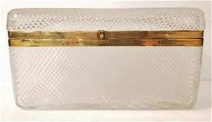 Large crystal box with gilt metal hinge