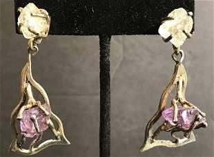 Modernist silver earrings by Arthur King, 11.8 dwts