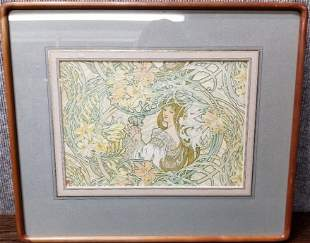 """Mucha lithograph, """"Language of Flowers:Lilies"""""""