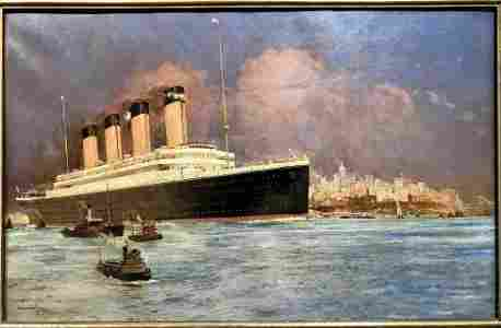 Magnificent Olympic painting by Charles E.Dixon, 1910