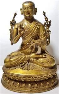 Tibet bronze, monk with black paint, c.1850