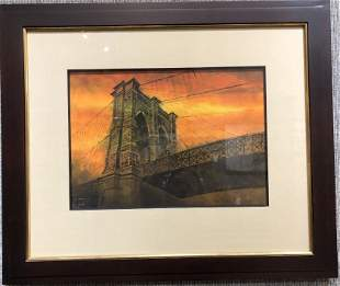 Lithograph of Brooklyn Bridge, by Sal Cigna