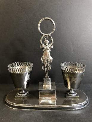 Neoclassical silver desk pen holder, c.1840, 18.6