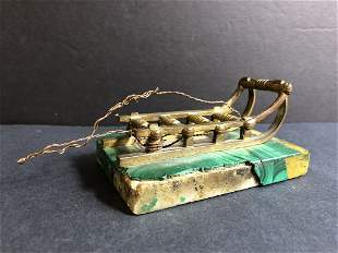 Russian bronze and malachite sled, c.1900