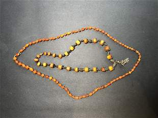Two amber necklaces, circa 1930