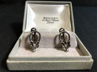 Hermes sterling cufflinks in the box, 7.9 dwts