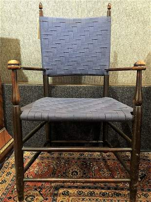 Shaker wood chair with blue straps