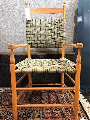 Shaker wood chair with green straps