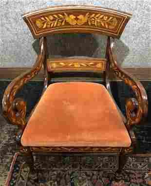 Dutch marquetry armchair, c.1900