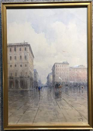Watercolor of rainy street, signed T.H.Perry(?)