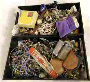 Costume jewelry in two trays