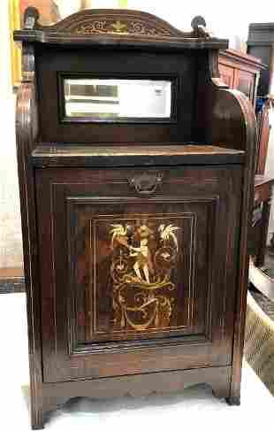 Rosewood coal bin, with inlay, c.1880