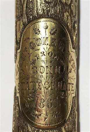 18k presentation cane, Lt.Gov Conn E.H.Hyde, 1867
