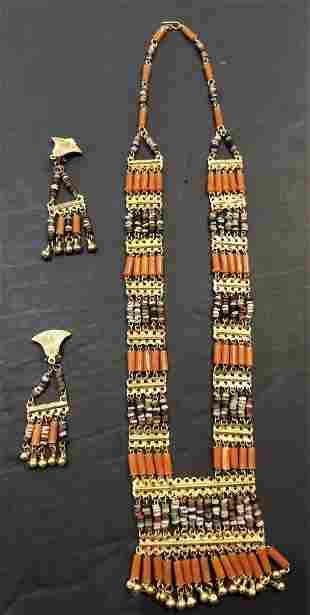 Egyptian necklace and earrings, Dr Horowitz Estate NYC