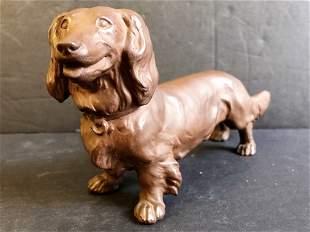 Meissen terracotta dachshund, c.1950