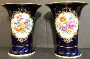Pair of Meissen blue porcelain vases
