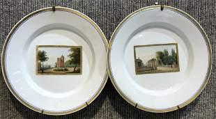 Two KPM scenic plates, c.1830