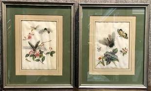 Pair of Chinese pith paintings of butterflies