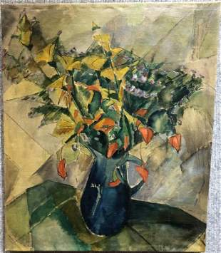 """German Expressionist style flower ptg, signed """"HB""""(?)"""