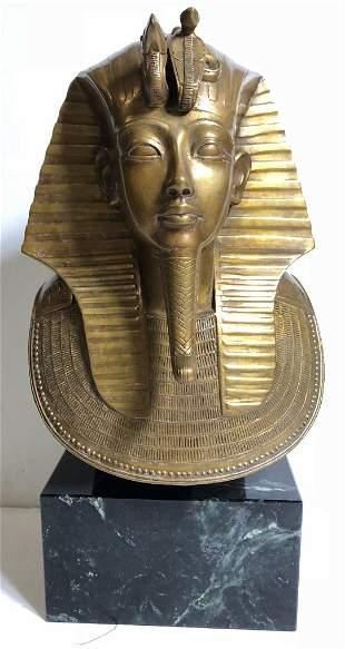 Egyptian bronze head of king, 20th century