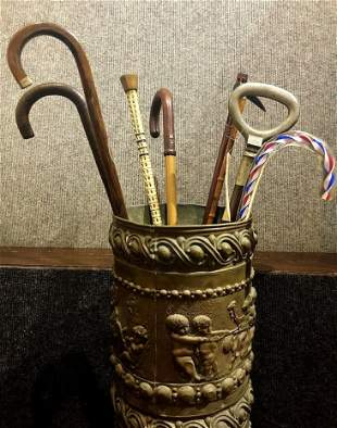 Group of eight antique canes