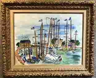 Watercolor of boats after Raoul Dufy