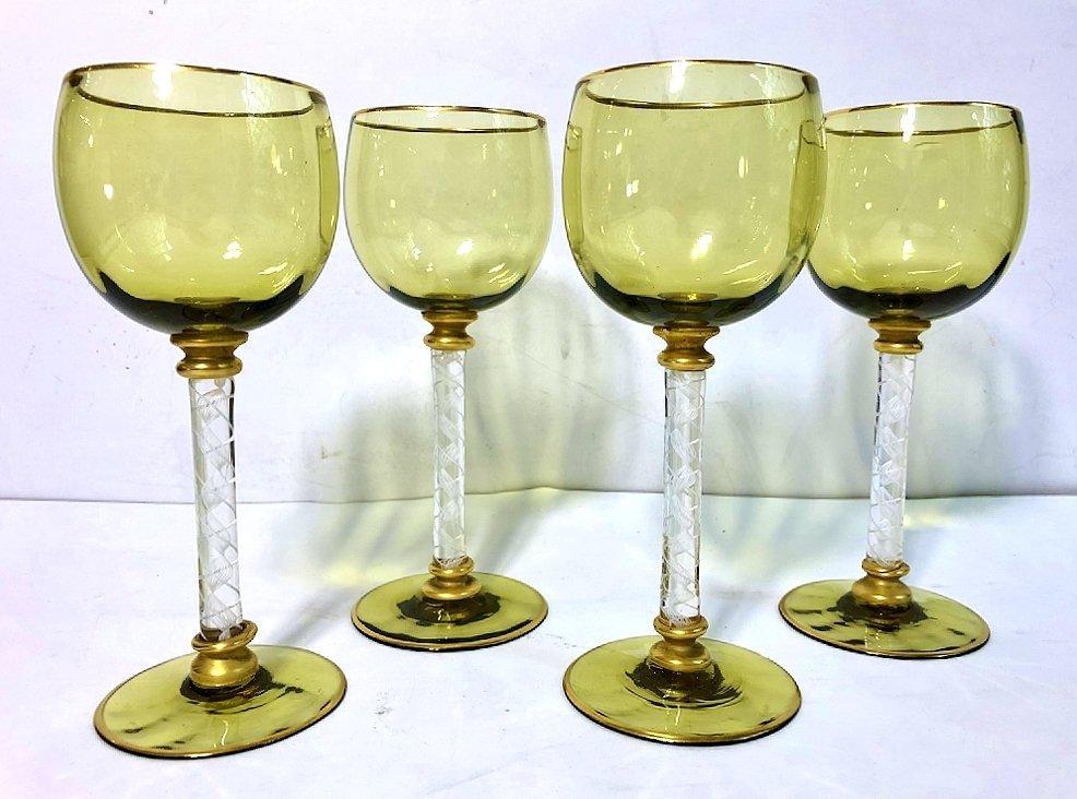 Four green glasses