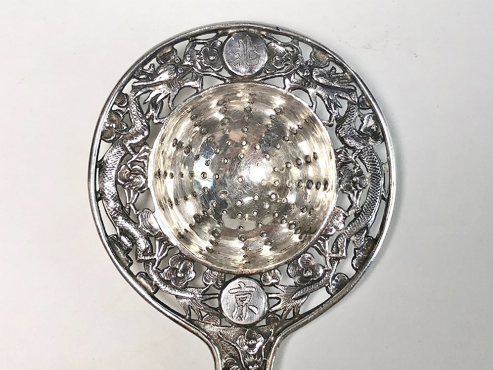 Chinese Export silver tea strainer, c.1900, 1.4 t.oz - 3