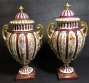 Pair of covered Royal Rudolstadt vases c1920