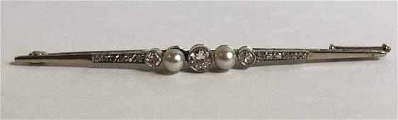 14k gold diamond and natural pearl bar pin, c.1900