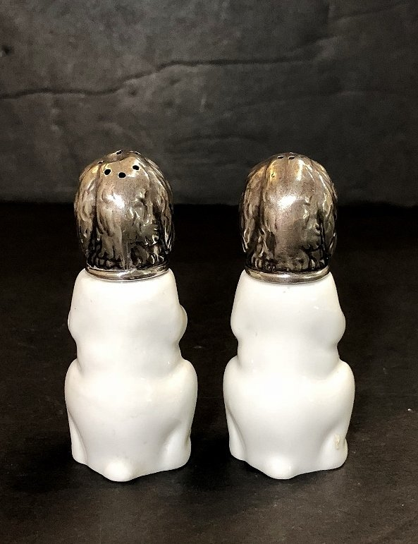 KPM and 800 silver salt and pepper dogs, c.1920 - 3